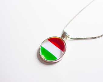 Hungarian flag necklace, Hungarian necklace, Hungarian pendant, Hungarian jewelry, flag necklace, silver necklace, flag jewelry, gift