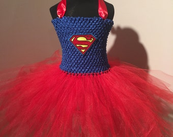 Handmade Superman/Supergirl Tutu Dress 2T - 3T