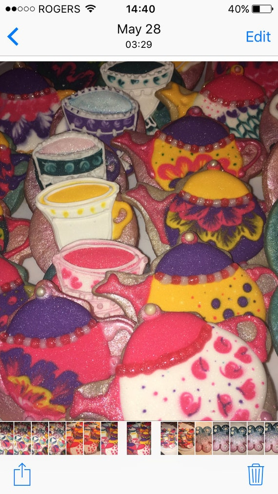 One Dozen Teacup and Teapot sugar cookies