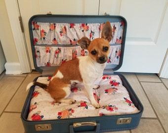Vintage Suitcase Travel Pet Bed - Samll (Blue Floral)
