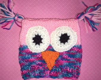 Baby square owl hat with tassles.