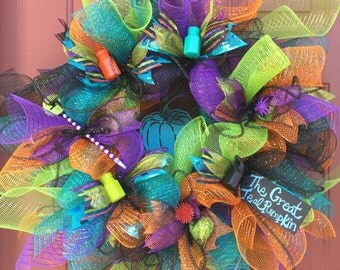 Teal Pumpkin Deco Mesh Wreath, Halloween Deco Mesh Wreath for Food Allergies with Black Deco Tubing
