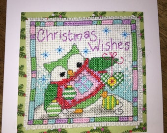 Hand Stitched Christmas Owl Card - Christmas Wishes