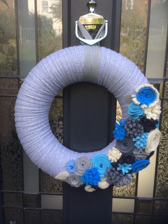 Large felt wreath. Mixed Felt flowers. Felt Wreath. Front Door Decor. Door Hanging. Wall Hanging. Custom. Flower Wreath
