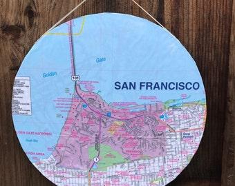 San Francisco, Golden Gate Bridge, Presidio, Cow Hollow, Candlestick Park - 12in Circular Hanging Map