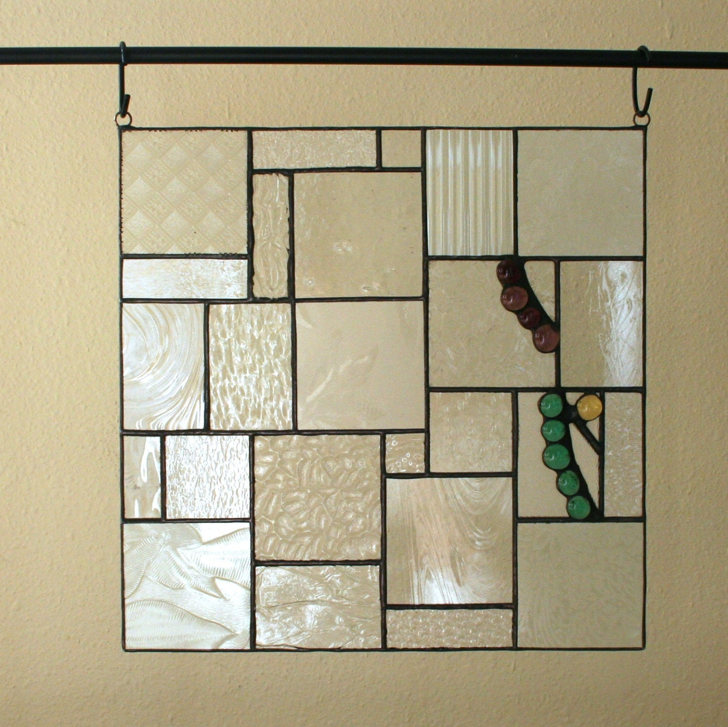 Clear stained glass panel textured glass 12 hanging for Textured glass panels
