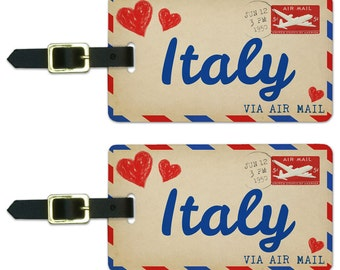 Air Mail Postcard Love For Italy Luggage Suitcase Carry-on ID  Tags Set Of 2