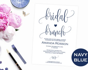 Navy blue Brunch Bubbly invitation - Luncheon brunch invitation - Brunch bubbly bridal invitation - PDF Instant Download #WDH303_3