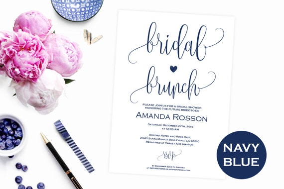 Navy blue Brunch Bubbly invitation - Luncheon brunch invitation - Brunch bubbly bridal invitation - PDF Instant Download #WDH0100