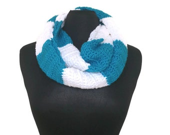 Infinity Rugby Scarf - Blue and White Striped Infinity Scarf