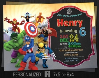 The Avengers Invitation, The Avengers Birthday Party, The Avengers Squad, Marvel Babies Kids, Heroes, Personalized, Printable, Digital File