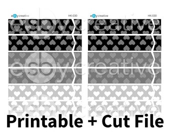 Monochrome Hearts - Header Covers Printable Planner Stickers for Erin Condren Horizontal + Cut File - HK-030 - INSTANT DOWNLOAD