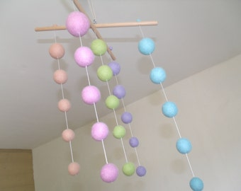 "Mobile mixed Suspension ""Pastel"" felted balls"
