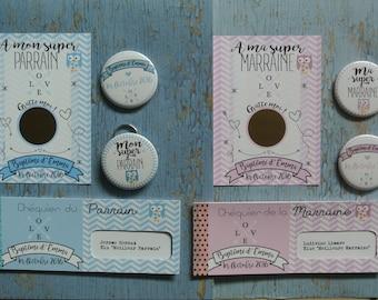 Kit cadeaux parrain marraine theme Chouette rose et bleu