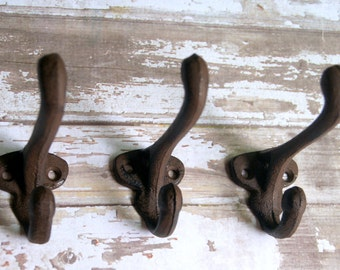 6 rustic hooks, antique hook, cast iron hook, cast iron hooks, rustic hooks, antique hooks, towel hook, vintage hook, wall hook, coat hooks