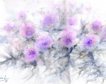 Original Watercolor, title CARDOS, 50x35 cm.  Flowers theme.
