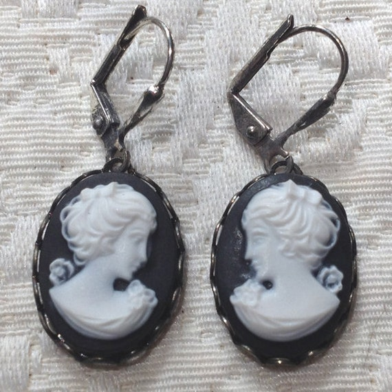 Black - Cameo Earrings - Hand Dyed