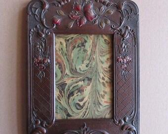 Vintage Frame Circa 1880 Victorian Leatherette Floral Frame Easel Back