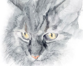 maine coon cat watercolor giclee print