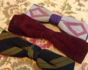 3 1950's Mens Bowties. Clip on.