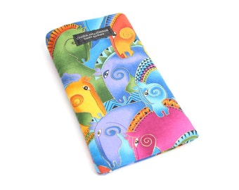 Colorful Horse fabric Eyeglass Reader Case. Multi-functions as a checkbook case or cell phone pouch.
