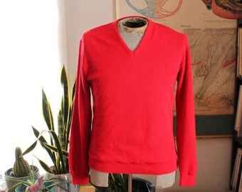 mens red v neck sweater . vintage 1970s sweater by Carmel . acrylic pullover sweater . medium large