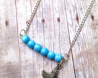 Starfish charm, blue glass bead, necklace, silver chain, beach, summer