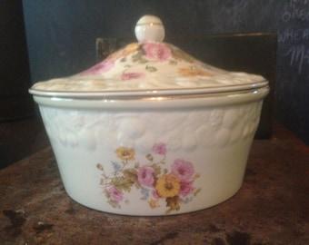 Crooksville Bak-In Anemone Bouquet Casserole Covered Baking Dish Gold Trim Vintage China 1940s WWII Era Shabby Chic Kitchen