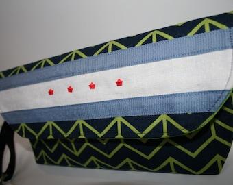 Chicago Pride Wristlet Clutch Bag, Chicago Flag, Zippered Wristlet Clutch Purse, Navy Blue Wristlet, Catey Bag