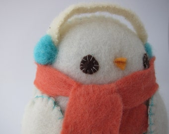 Snow Drop Penguin Softie in Coral Floral