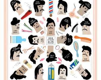 Hairstyles of the People - Vintage Barber Shop - Art Print 12x12 - Poster