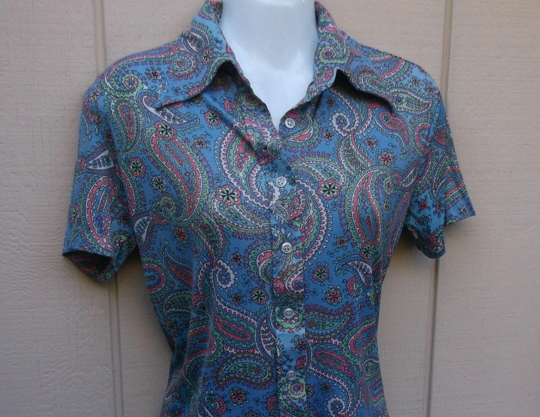 70s vintage kmart blue paisley floral nylon knit button down for Kmart button up shirts