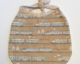 Linen Train Bib