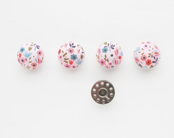 Pink Floral Fabric Covered Half Round Buttons 7/8 Inch | 4 Mushroom Top Shank Back Embellishment Hair Tie Buttons
