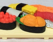 ERASERS Sushi Sashimi Iwako Eraser Set Kawaii NEW in blister package collectable Japanese puzzle eraser art supplies