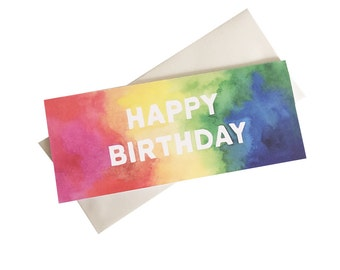 Happy Birthday Card - rainbow birthday - watercolor birthday card - money card - card that fits check - #10 long card
