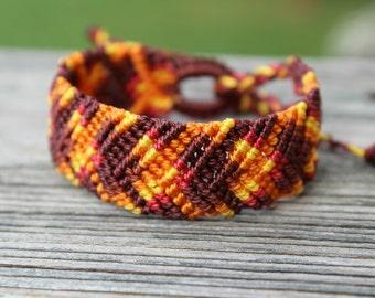 REDUCED Micro-Macrame Beaded Cuff Bracelet - Fall Harvest