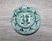 Sunshine Face Ceramic Cabochon Stone in Peacock