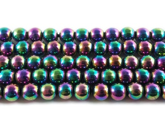 Rainbow Spectrum Hematite Round Gemstone Beads