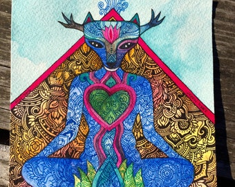 Green Hart Original Watercolor by Megan Noel
