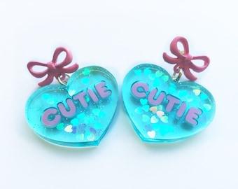 Cutie Conversation Valentine Heart earrings Aqua