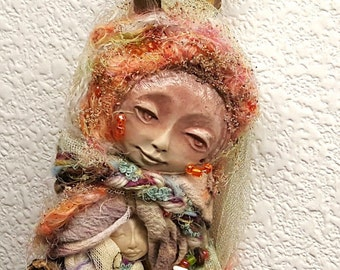 Ooak art doll, Cottage shic decor, IsChel Rainbow Goddess, Bohemian Art Dolls, Wedding Gift