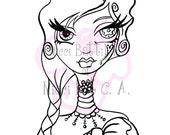 INSTANT DOWNLOAD Digital Digi Stamps Big Eye doll head ~ Steampunk Icon Sally