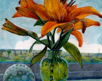 Framed Watercolor Floral Art Painting Tiger Lily DelPesco