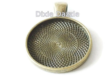 ON SALE 30 1 inch Round  bronze pendants, bronze bezel, 25mm bezel, Pendant Tray, 1 inch Blanks for DIY Pendants, make personalized jewelry