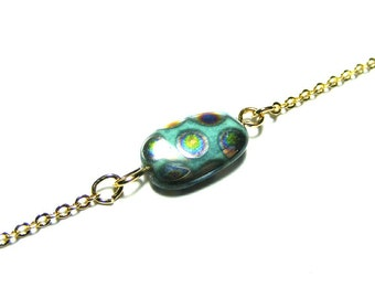 Picasso Peacock, Czech Glass Bead Bracelet, Simple Bracelet, Single Bead Bracelet, Everyday Bracelet, Simple Chain Bracelet, Cute Bracelet