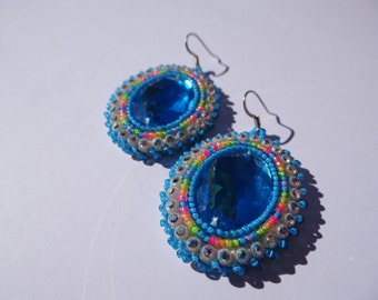 Blue & Neon Rainbow Beaded Earrings