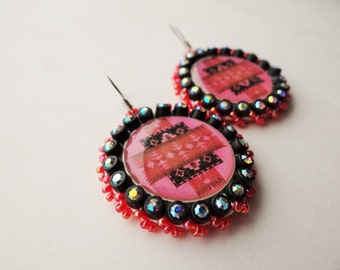 Native Print Red Beaded Earrings