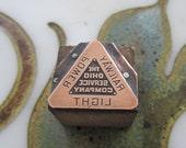 Ohio Service Company Railway Power Light Vintage Letterpress Printing Block