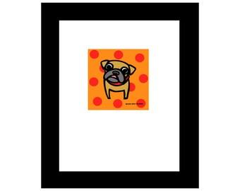 Fawn PUG + Polka Dots ! 8x10 Art Print Anne Leuck Feldhaus Studio
